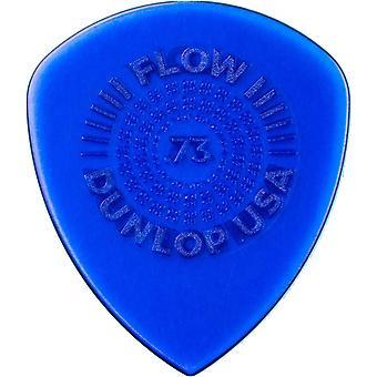 Jim dunlop 549p0.73 flow standaard grip picks, 73 mm, set van 6 stuks .73mm speler pack 6 picks