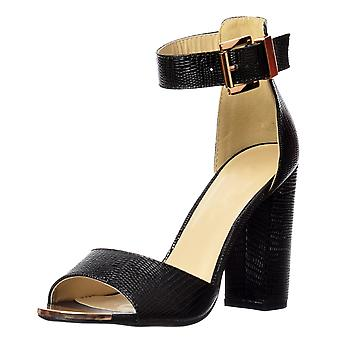 Onlineshoe Peep Toe Mid Heels - High Back Strappy Sandals Buckled Ankle Cuff