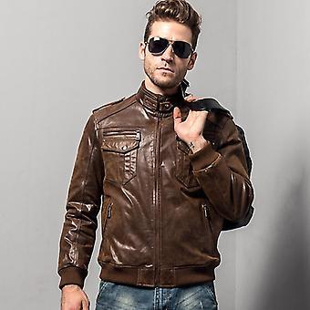 Men & apos;s Pigskin دراجة نارية حقيقية سترة جلدية الحشو القطن معطف دافئ الشتاء