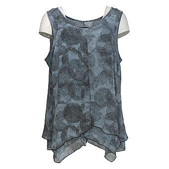 H by Halston Women's Top Printed Chiffon Handkerchief Hem Blue A305351