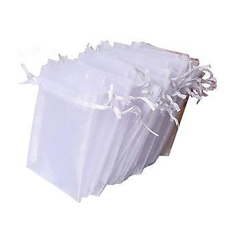 100stk 7 * 9cm Organza Gaveposer Hvid Bryllup Favor Tasker med snor