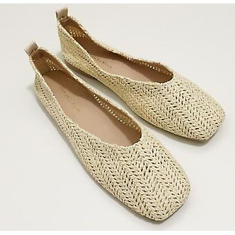 Square Toe Boat Shoes & Straw Knitting Pattern Loafers Vintage Solid Flat &