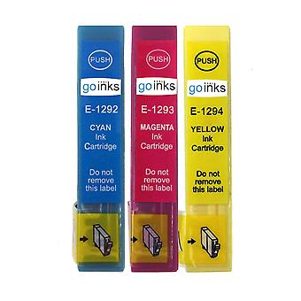 1 Set of 3 Ink Cartridges to replace Epson T1295 C/M/Y Compatible/non-OEM from Go Inks (3 Inks)
