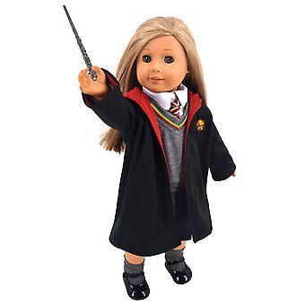 Ebuddy magische school uniform- geïnspireerde poppenkleren schoenen voor Amerikaanse meisje poppen: 8pc school uniform