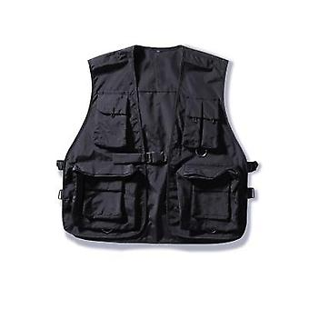Military Multiple Pockets Cargo Vest, Hip Hop Sleeveless Jacket