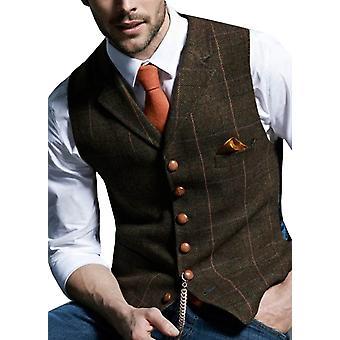 Mens Suit Vest, Notched Plaid Wool Herringbone, Tweed Waistcoat Casual,mal