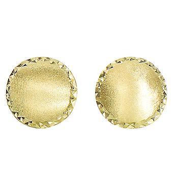 14 ك الحرير الذهب الأصفر مع الماس قطع حواف مسمار أقراط، 11 مم