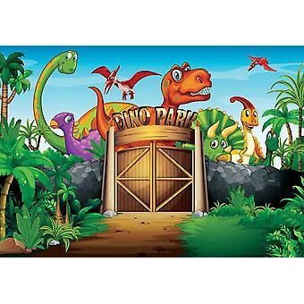 Mural de fondo de pantalla con dinosaurios que viven en