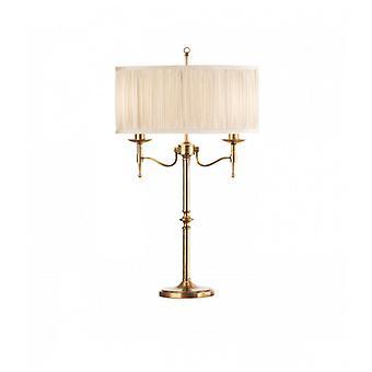 Stanford Lampe, antike Messing, Beige Lampenschirm