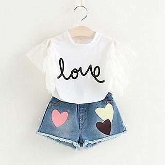 Baby Girls weiße Jacke Blume und Denim Shorts
