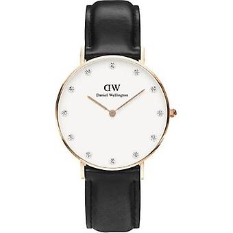 Daniel Wellington 0951DW Clase Sheffield blanco dial negro cuero mujeres's reloj
