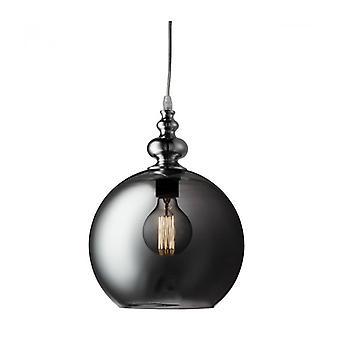 Lámpara Colgante Redonda Indiana, En Cromo Y Vidrio Ahumado