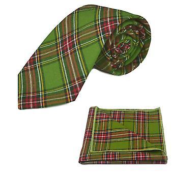 Traditionell grön tartan slips & Ficka fyrkantig uppsättning