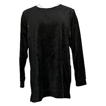 Denim & Co. Mulheres e apos;s Top Velour Long Sleeve Tunic with Pockets Black A390299