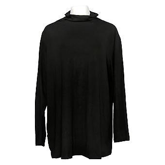 Attitudes Door Renee Women's Plus Top Jersey Funnel Neck Knit Black A344079