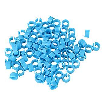 100pcs 8mm Plastic Leg Clip Rings Bands Blue for Racing Pigeons Poultry