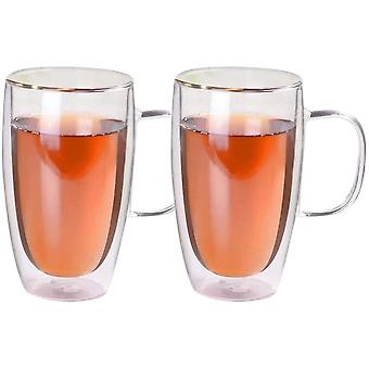 DZK Double Walled Insulated Glass Coffee Mugs Double-Wall Insulated Glass Mugs with Handle - 450ml
