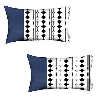 Set of 2 Diamond Patterns and Navy Blue Faux Leather Lumbar Pillow Covers