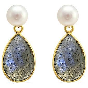 Pearls of the Orient Clara Freshwater Pearl Labradorite Drop Earrings - Grey/Blue