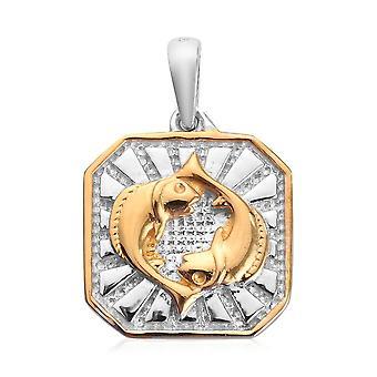 TJC Aquamarine Zodiac Pendant for Women in Sterling Silver 0.02ct