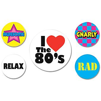 80'S Party Buttons (Packung mit 12)