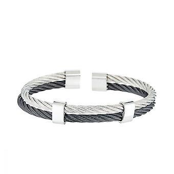 Armband Herren Doppel-Kabel Stahl Schwarz und Grau 'EDEN'