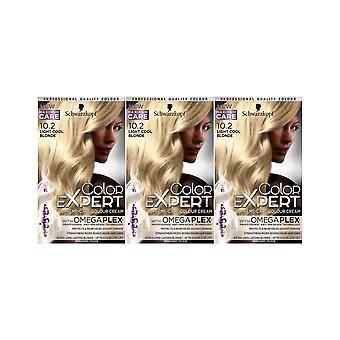 Schwarzkopf Farbexperte 10.2 Light Cool Blonde Permanent Hair Dye x 3 Pack