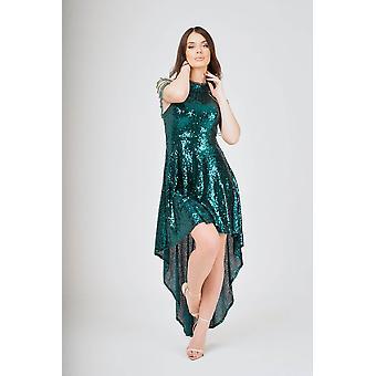 Jewel shoulder hi-lo sequin dress