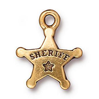Final Sale - TierraCast 22K Gold Plated Pewter Western Sheriff Star Charm 18mm (1)