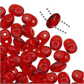 SuperDuo 2 trous perles de verre tchèques, Siam Ruby, 2x5mm, tube 8g