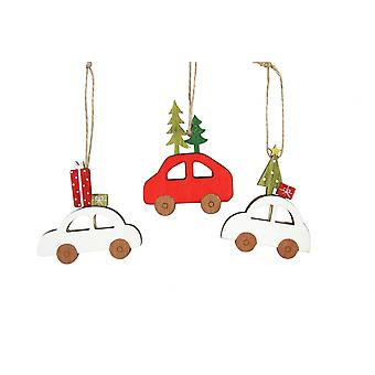Gisela Graham Set of 3 Wooden Car Decorations