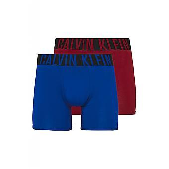 Calvin Klein 2 Pack Boxer Briefs - Intense Power ( Mulberry Wine / Kettle Blue )