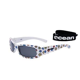 Ocean Sunglasses Uluwatu, Polarized Sunglasses, Frame: Bright White/Flowers, Lenses: Smoke, 17300.3