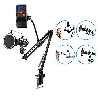 Adjustable Microphone Suspension Boom Scissor Arm Stand, Pop Filter Phone