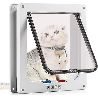 Katzenklappe Hundeklappe 4 Wege Magnet-Verschluss für Katzen und kleine Hunde - Hundetür Katzentür
