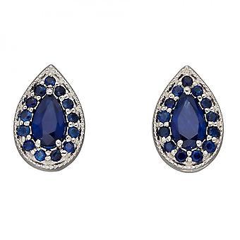 Elements Gold Teardrop Sapphire White Gold Stud Earrings GE2378L