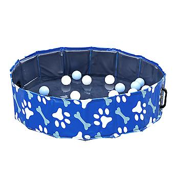 PawHut Foldable Dog Paddling Pool Pet Cat Swimming Pool Indoor/Outdoor Collapsible Bathing Tub Shower Tub Puppy Φ80 × 20H cm S Sized
