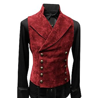 Homme's Double Reasted Button Velvet Solid Color Stand-up Collar Vest