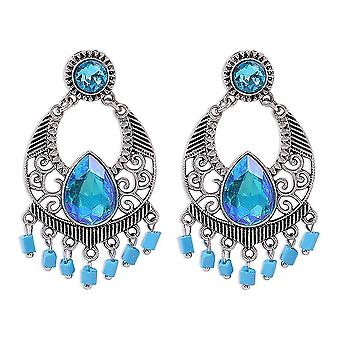 Earrings Geometric Resin Tassel Blue Alloy Crystal Jewelry For Daily Use
