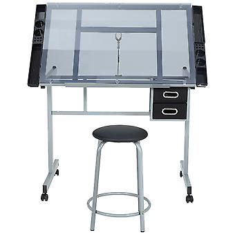 Zeichentisch mit höhenverstellbarem Glasreißbrett und Hocker
