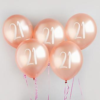 21st Milestone Birthday Party Balloons in Rose Gold x 5