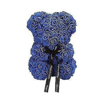 Valentine's day gift 25 cm rose bear birthday gift£? memory day gift teddy bear(Navy)
