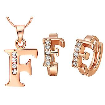 (F)  Alphabet Rhinestone Womens 26 Initial Letter Huggie Earrings Necklace Jewelry Set Rose Gold
