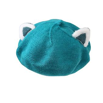 Baby hat berets for girls autumn winter knitted cap kids lovely beanies fox ears painter hats infant girl bonnet beret xmas gift