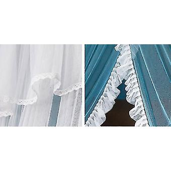 Double-layer Princess Dome Hanging Type Ceiling Round Mosquito Net(Blue And White)