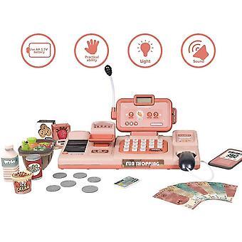 Speelgoed kassa winkelen doen alsof spelen geldmachine donkerbruin