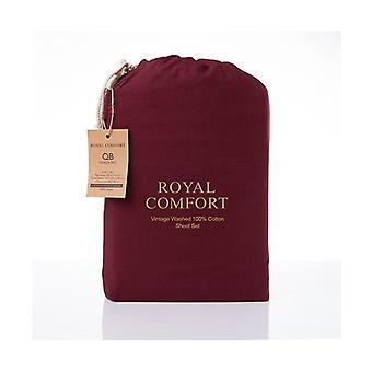 Royal Comfort Vintage Cotton Sheet Set Fitted Flat Sheet Pillowcases