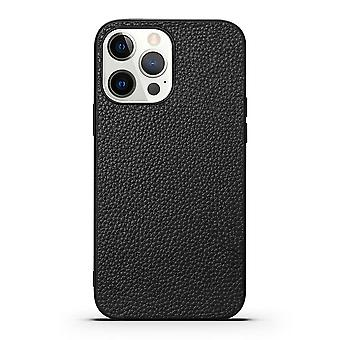 Para iPhone 13 Pro Case Cuero genuino Durable Slim Fit Cubierta protectora Negro
