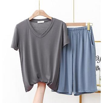 New Ladies Spring / Summer Modal Pajamas Two Piece V Neck Comfortable