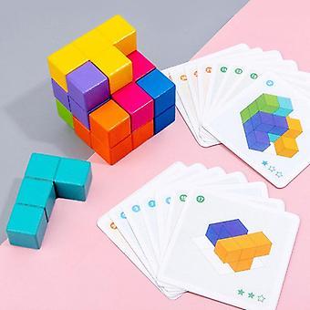 Træ Cube Space Logisk Tænkning Uddannelse Building Blocks Forældre Child Board Game Undervisningshjælpemidler